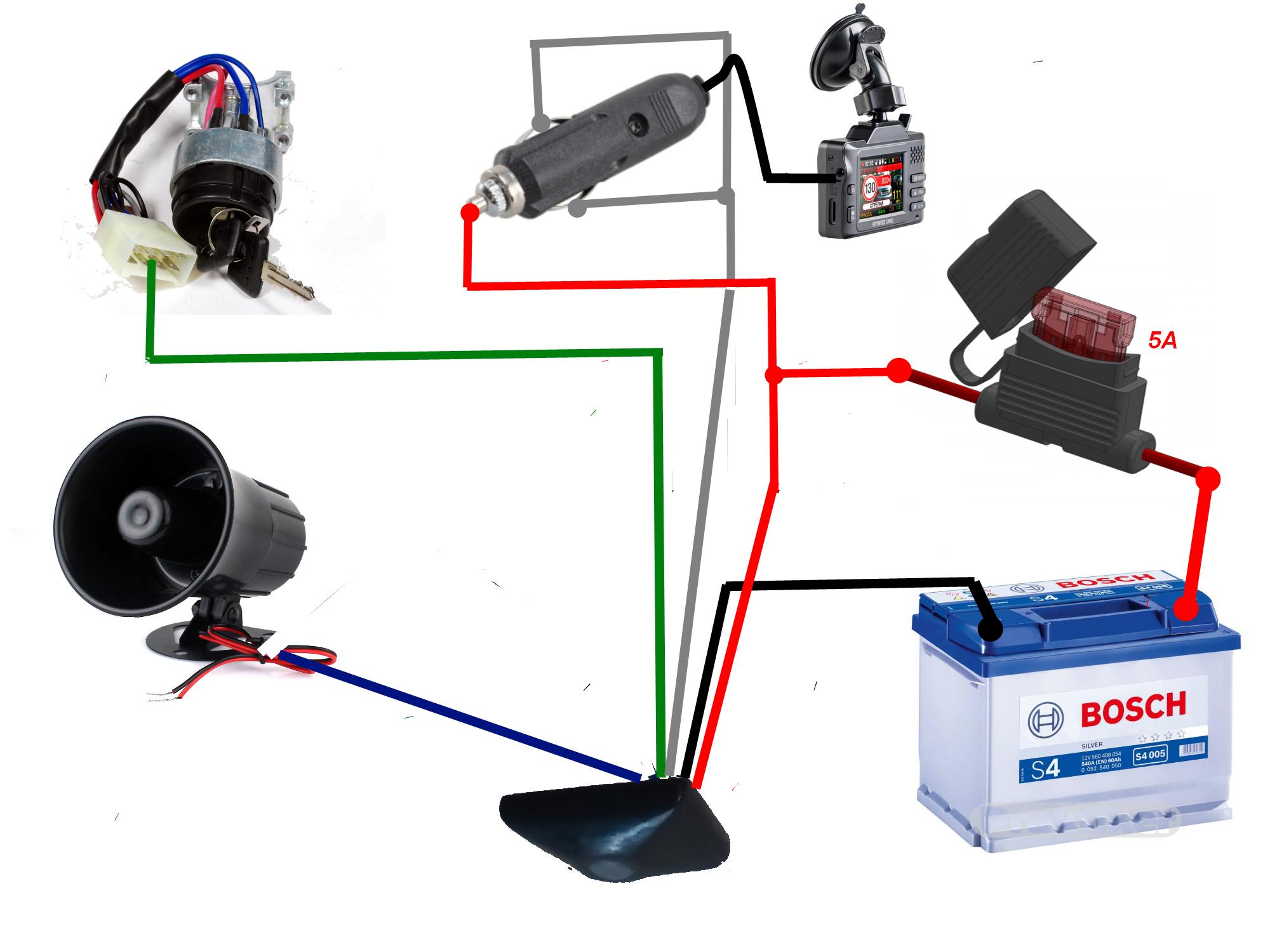 схема подключения видеорегистратора к сигнализации через кнопку