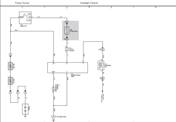 электросхема омывателя фар прадо 120