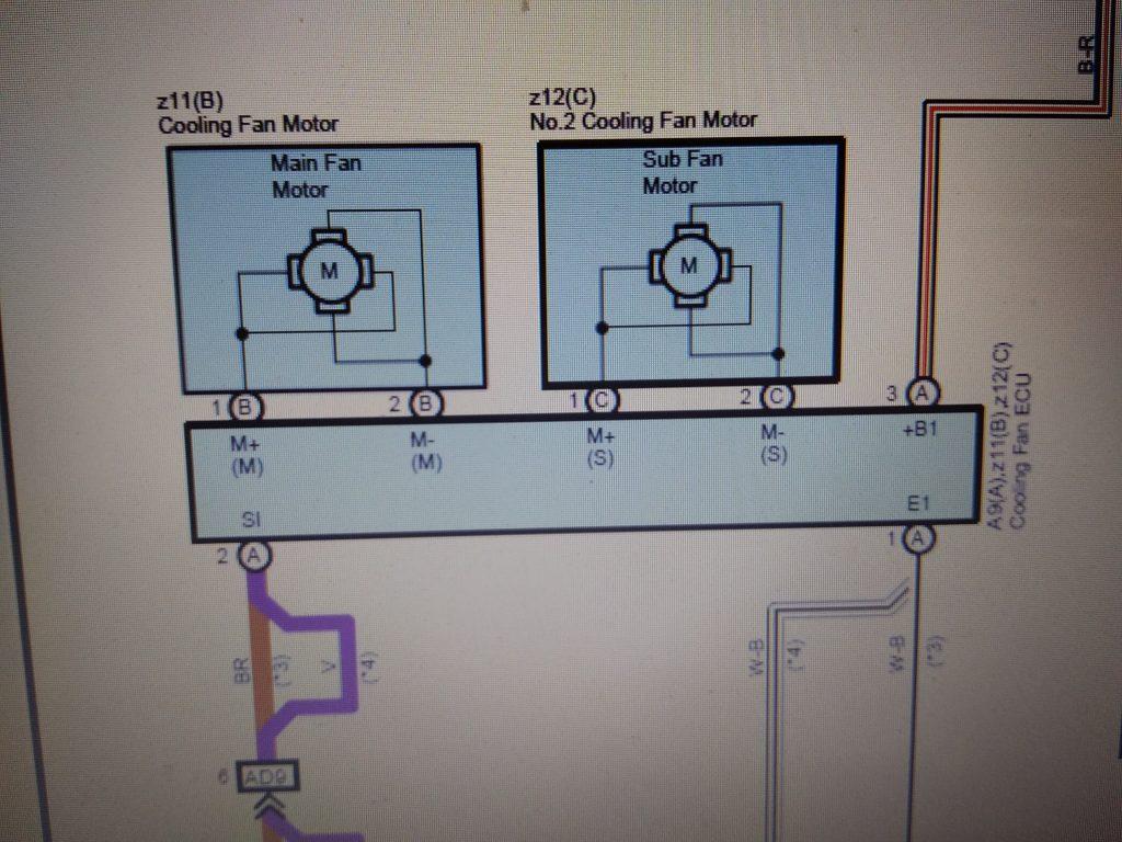 Схема управления вентиляторов охлаждения двигателя Тойота Хайлендер
