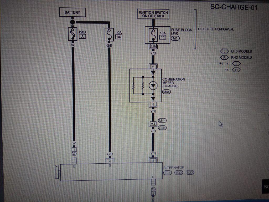 схема генератора ниссан х трейл т30,схема лампы зарядки, предохранители генератора ниссан