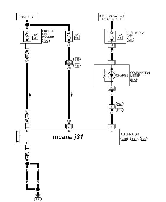 схема генератора ниссан теана j31