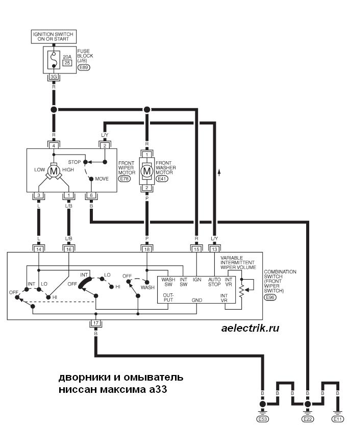 схема дворников и омываеля ниссан максима а33