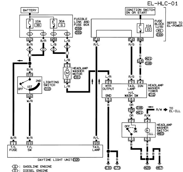 схема омывателя фар альмера