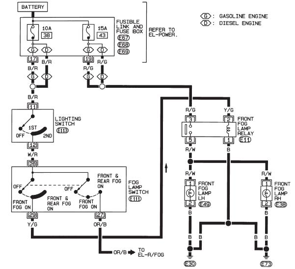 схема противотуманок альмера