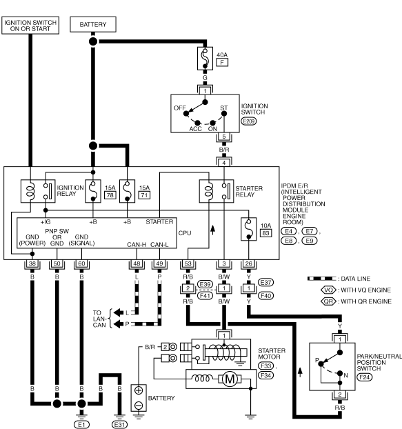 теана j31 схема стартера