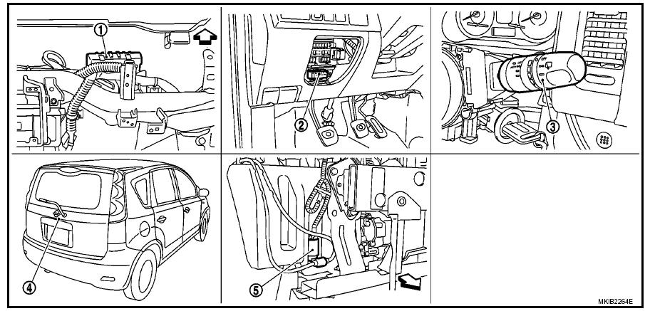 nissan note rear wiper sistem parts location