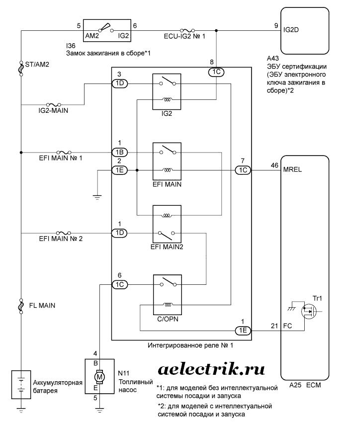 схема реле бензонасоса тойота камри