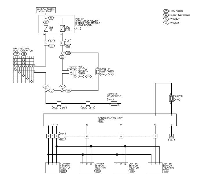 схема парктроника ниссан кашкай