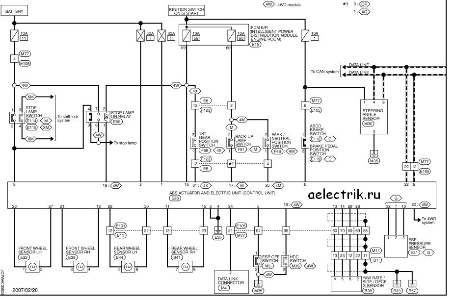 схема абс и есп ниссан икс треил т31
