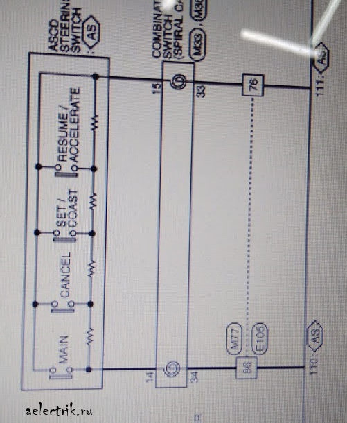 схема клавиш круиз контроля