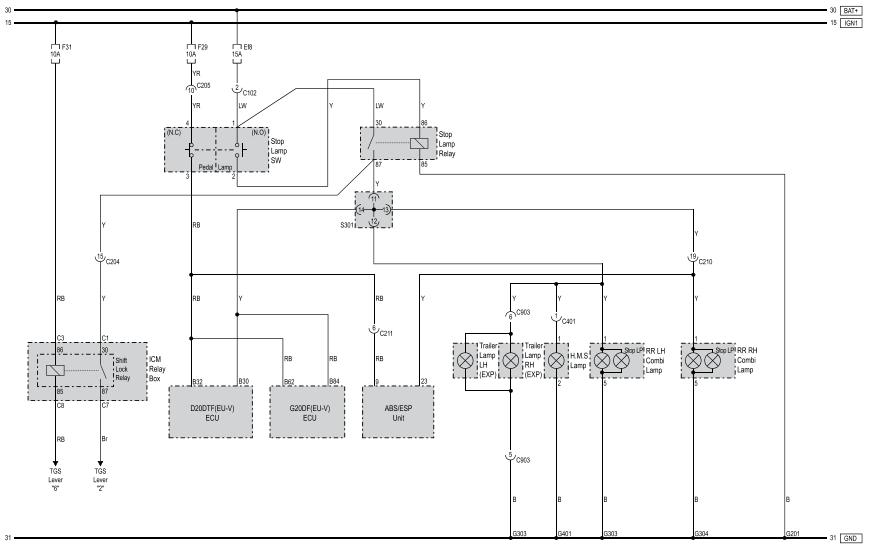 SsangYong Korando (action new) схема стоп сигналов