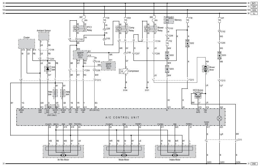 SsangYong Korando схема отопителя и кондиционера