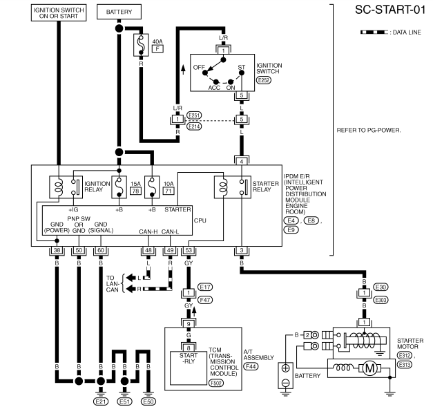 Инфинити FX35/FX45 схема стартера и генератора