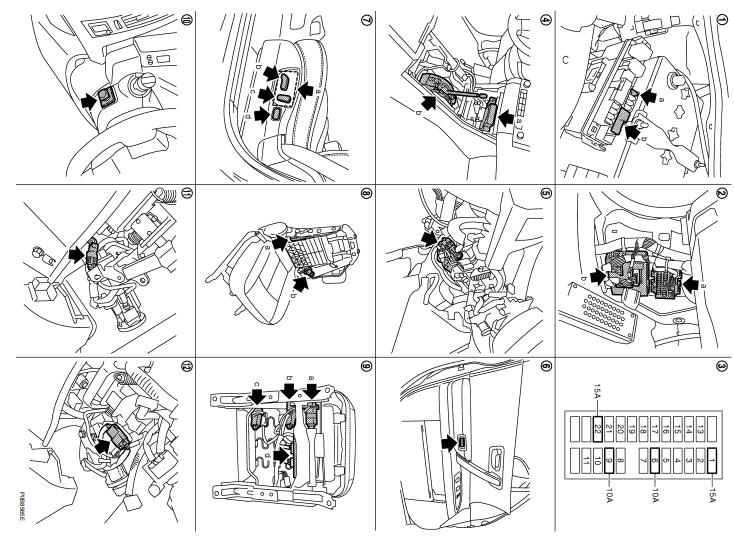 FX35/FX45 схема авто регулировки сидений, рулевой колонки и зеркал