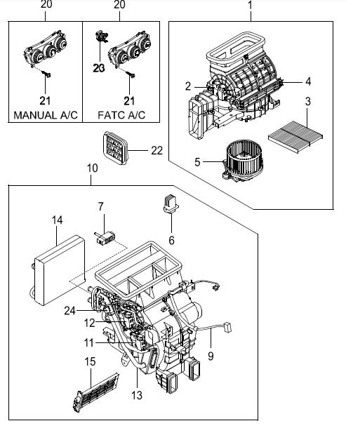 SsangYong Korando вентилятор отопителя и фильтр салона