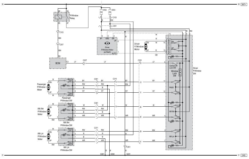 SsangYong Korando схема электропривода стеклоподъёмников