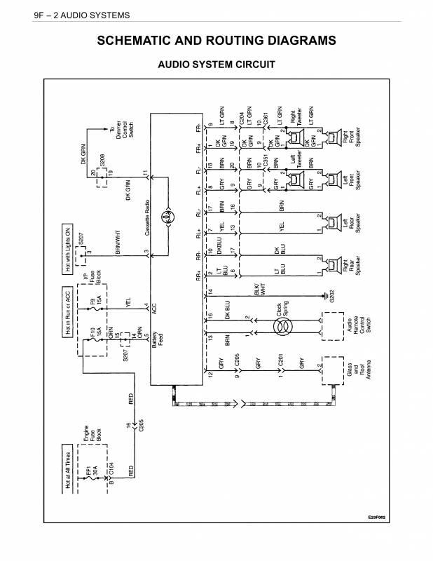 схема аудиосистемы, радио дэу нубира