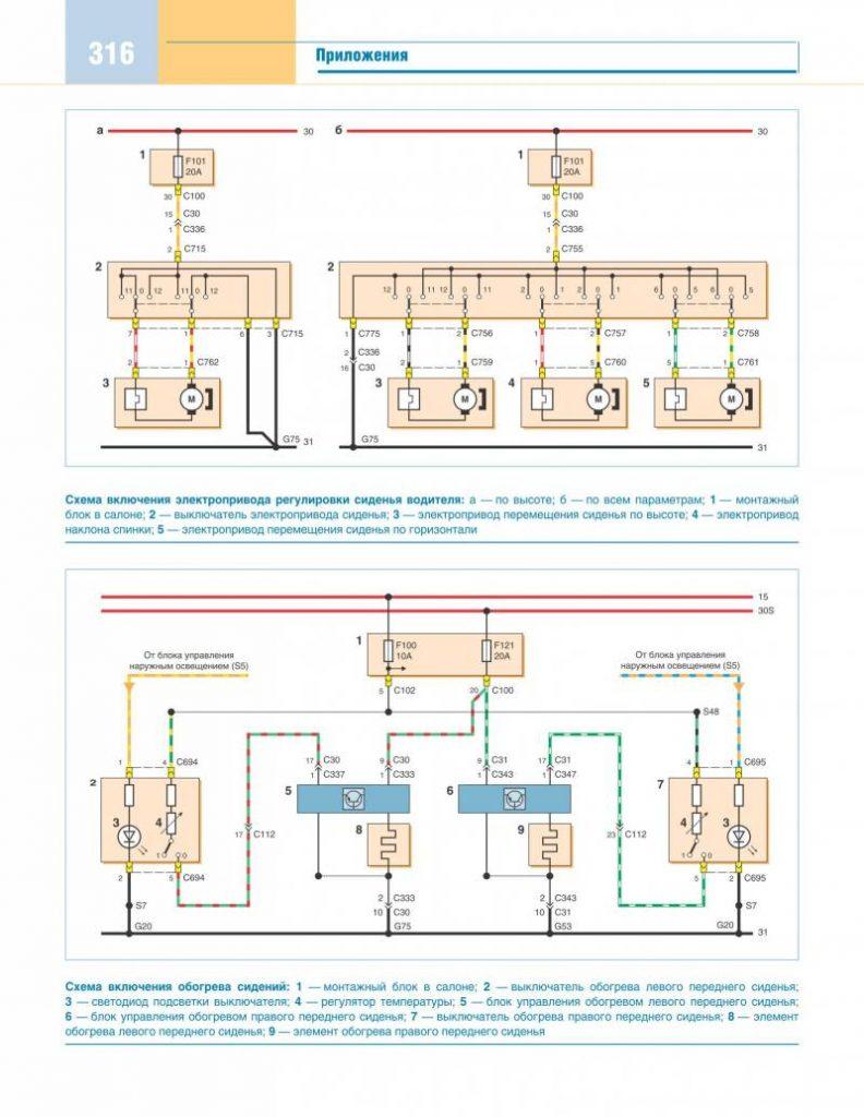 схема электропривода и обогрева сидений форд фокус 2