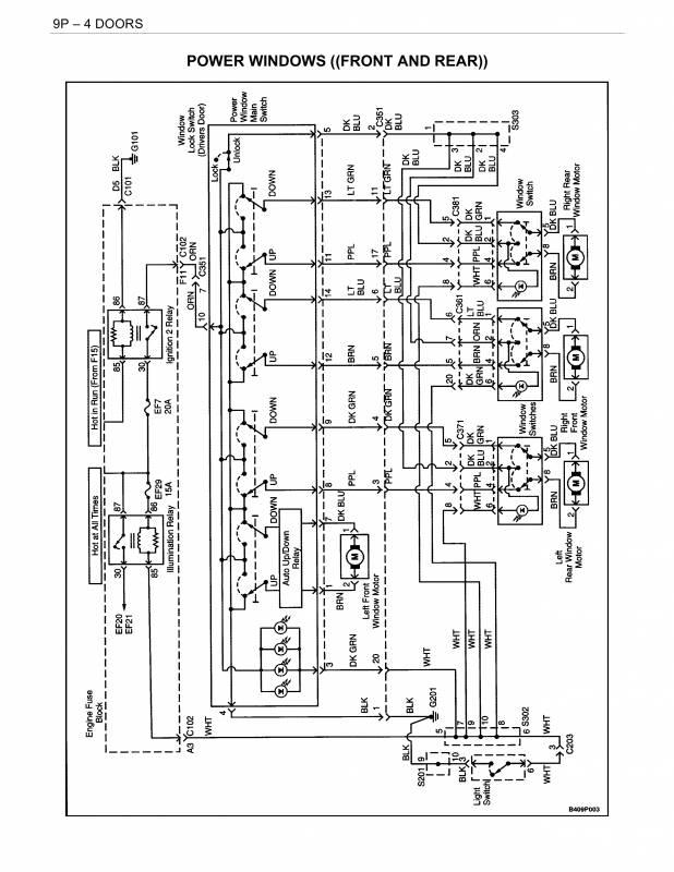 схема стеклоподъёмников с электроприводом дэу нубира