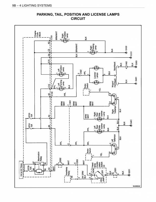 схема габаритных огней дэу нубира