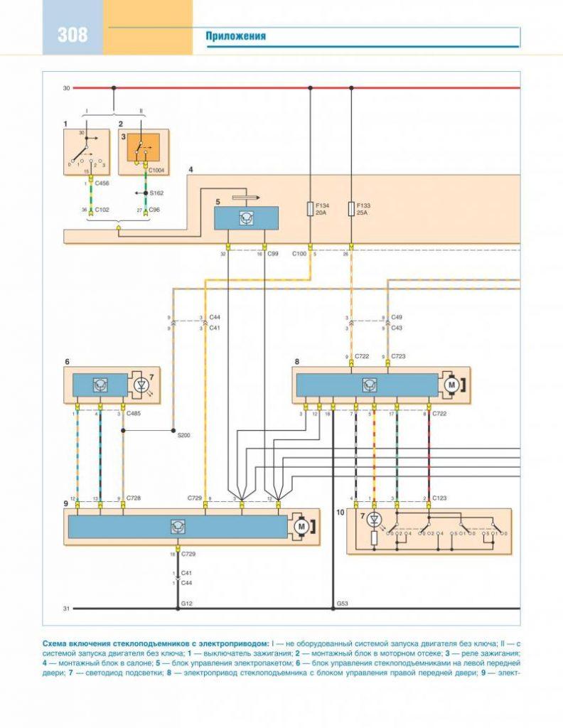 схема электростеклоподъёмников форд фокус 2