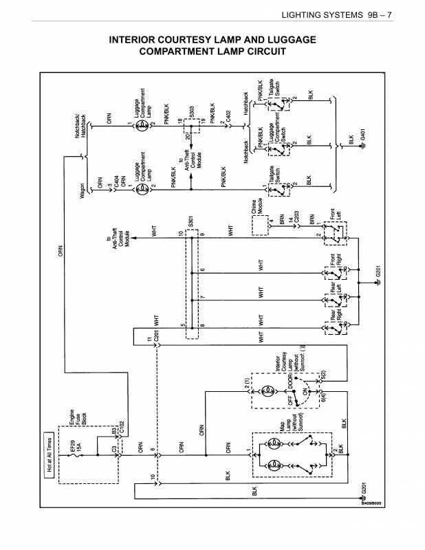 схема освещения салона дэу нубира