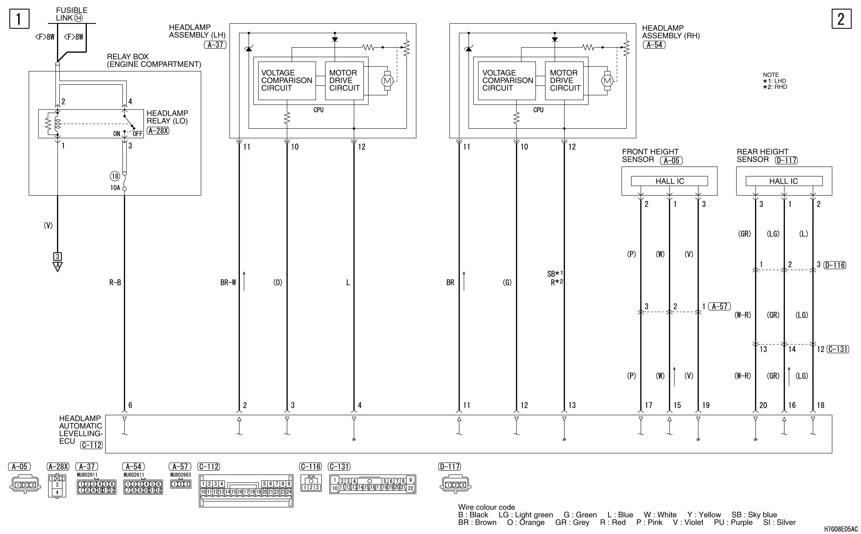mmc аутлендер xl электросхема HEADLAMP AUTOMATIC  LEVELLING SYSTEM