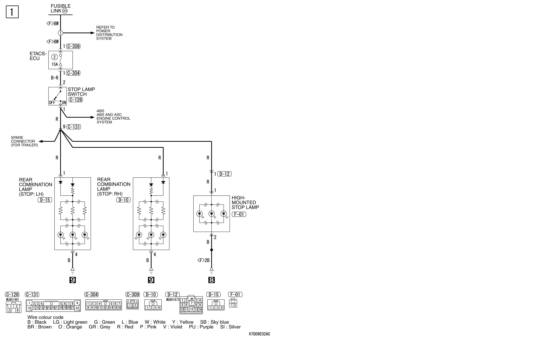 mmc аутлендер xl электросхема STOP LAMP