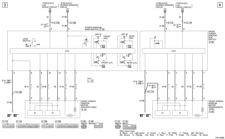 mmc аутлендер xl электросхема POWER WINDOWS