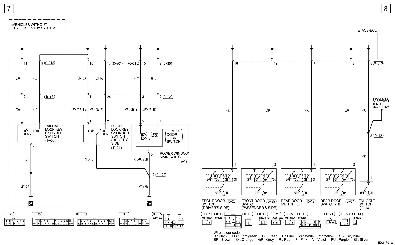 mmc аутлендер xl электросхема CENTRAL DOOR LOCKING  SYSTEM LHD