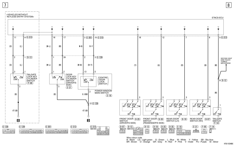 mmc аутлендер xl электросхема CENTRAL DOOR LOCKING  SYSTEM RHD (WITHOUT DEAD LOCK SYSTEM)