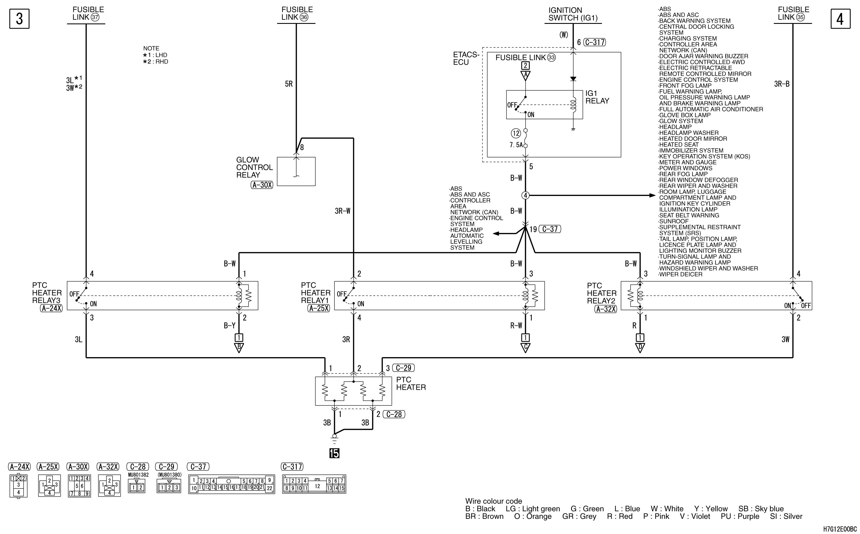 mmc аутлендер xl электросхема PTC HEATER