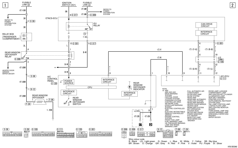 mmc аутлендер xl электросхема REAR WINDOW DEFOGGER