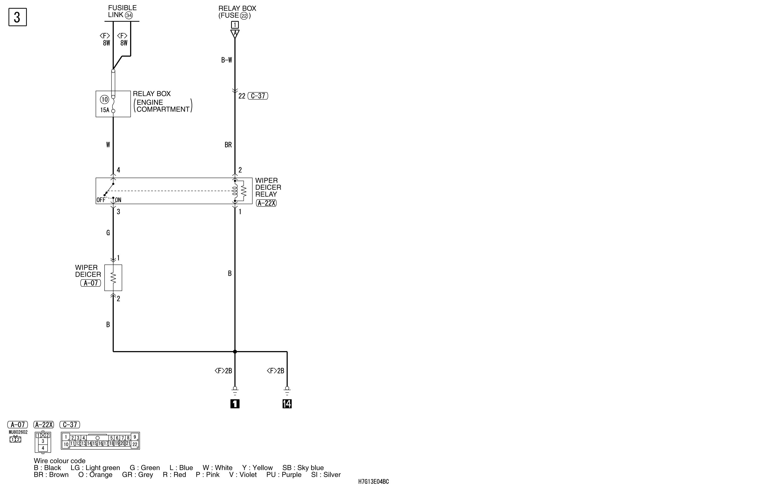 mmc аутлендер xl электросхема WIPER DEICER