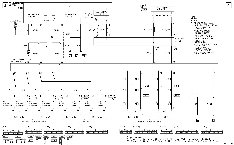 mmc аутлендер xl электросхема SPARE CONNECTOR  (FOR AUDIO)