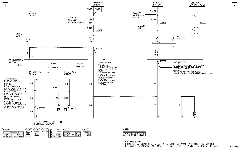 mmc аутлендер xl электросхема SPARE CONNECTOR  (REAR DISPLAY)