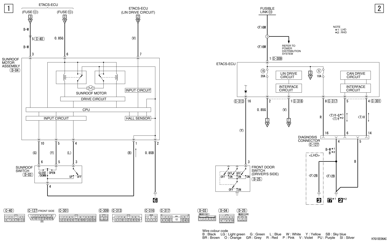 mmc аутлендер xl электросхема SUNROOF