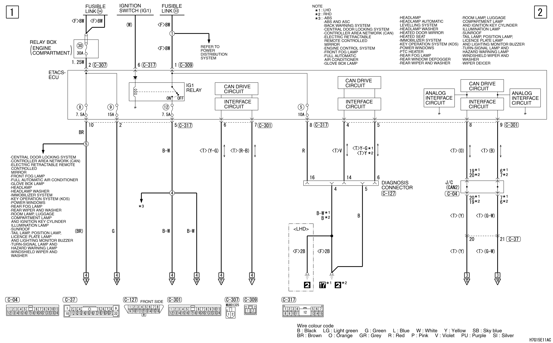 mmc аутлендер xl электросхема SEAT BELT WARNING