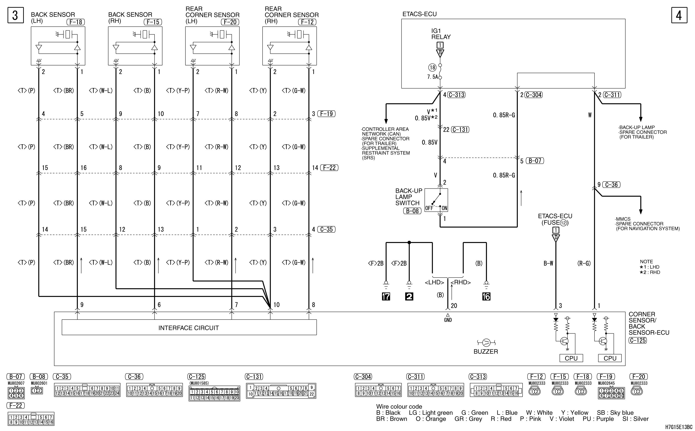 mmc аутлендер xl электросхема BACK WARNING SYSTEM