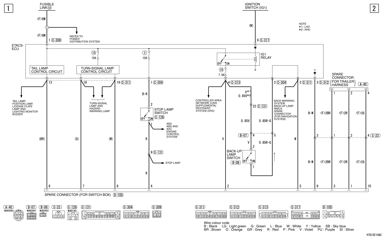mmc аутлендер xl электросхема SPARE CONNECTOR  (FOR TRAILER)