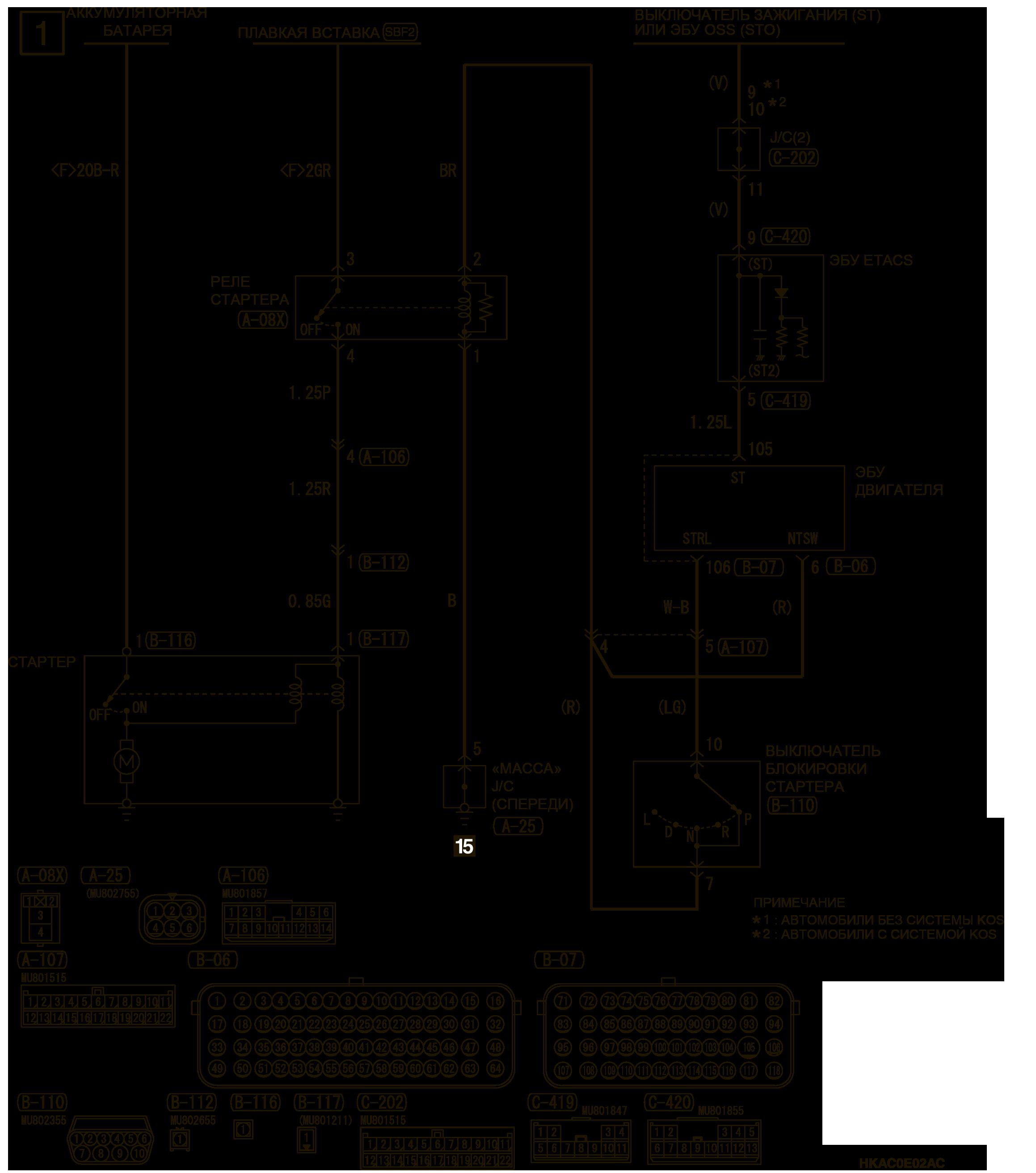 mmc аутлендер 3 2019 электросхемаСИСТЕМА ЭЛЕКТРОПУСКА 4B1, 4J1-CVT (АВТОМОБИЛИ БЕЗ СИСТЕМЫ AS&G)