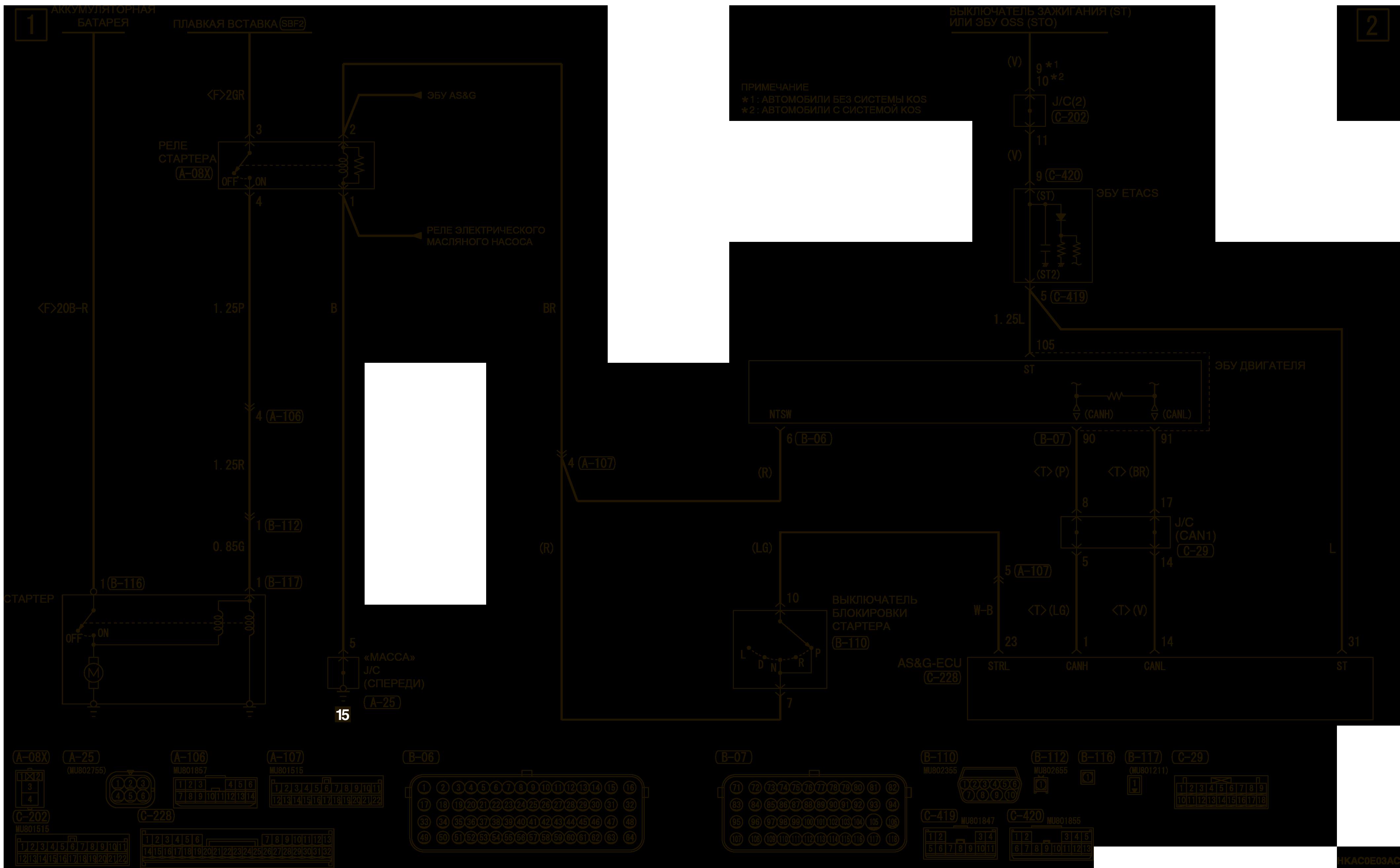 mmc аутлендер 3 2019 электросхемаСИСТЕМА ЭЛЕКТРОПУСКА 4J1-CVT (АВТОМОБИЛИ С СИСТЕМОЙ AS&G)