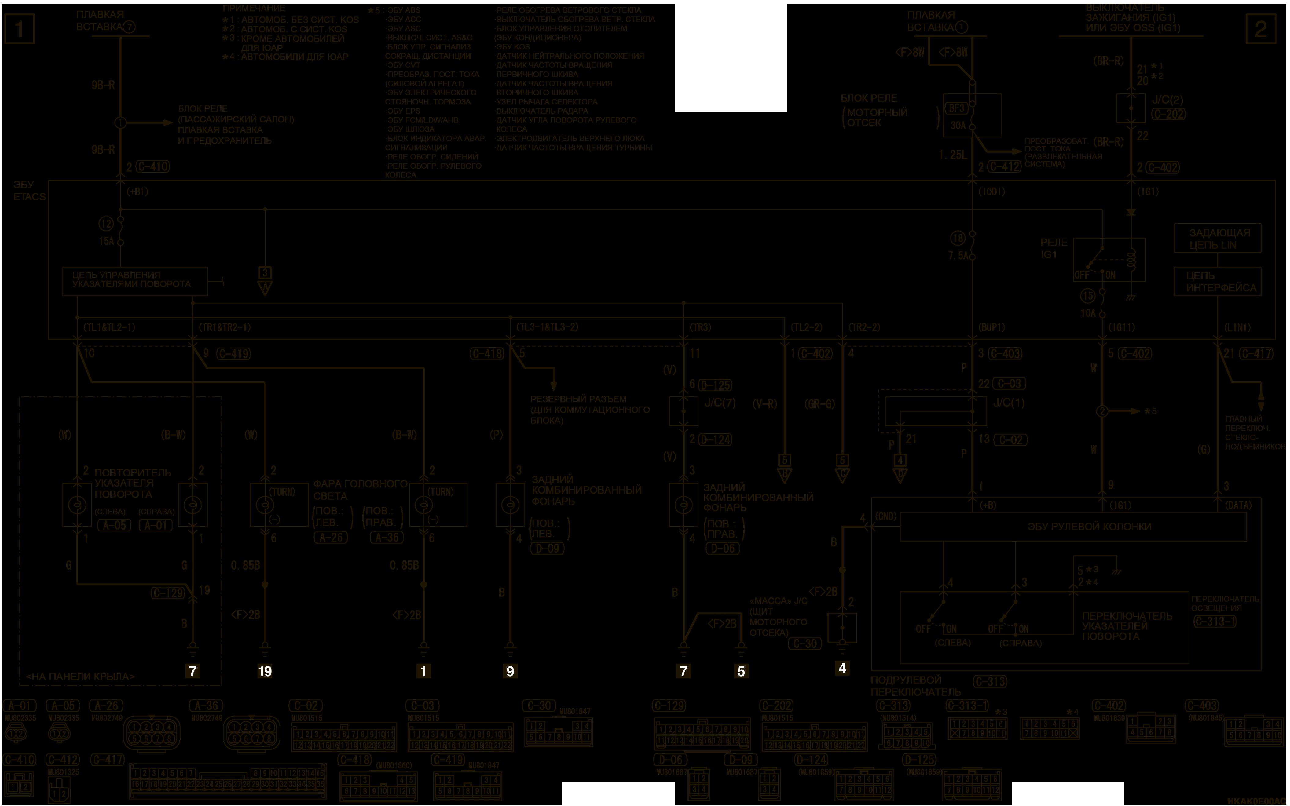 mmc аутлендер 3 2019 электросхемаУКАЗАТЕЛИ ПОВОРОТА И ВЫКЛЮЧАТЕЛЬ АВАРИЙНОЙ СИГНАЛИЗАЦИИ