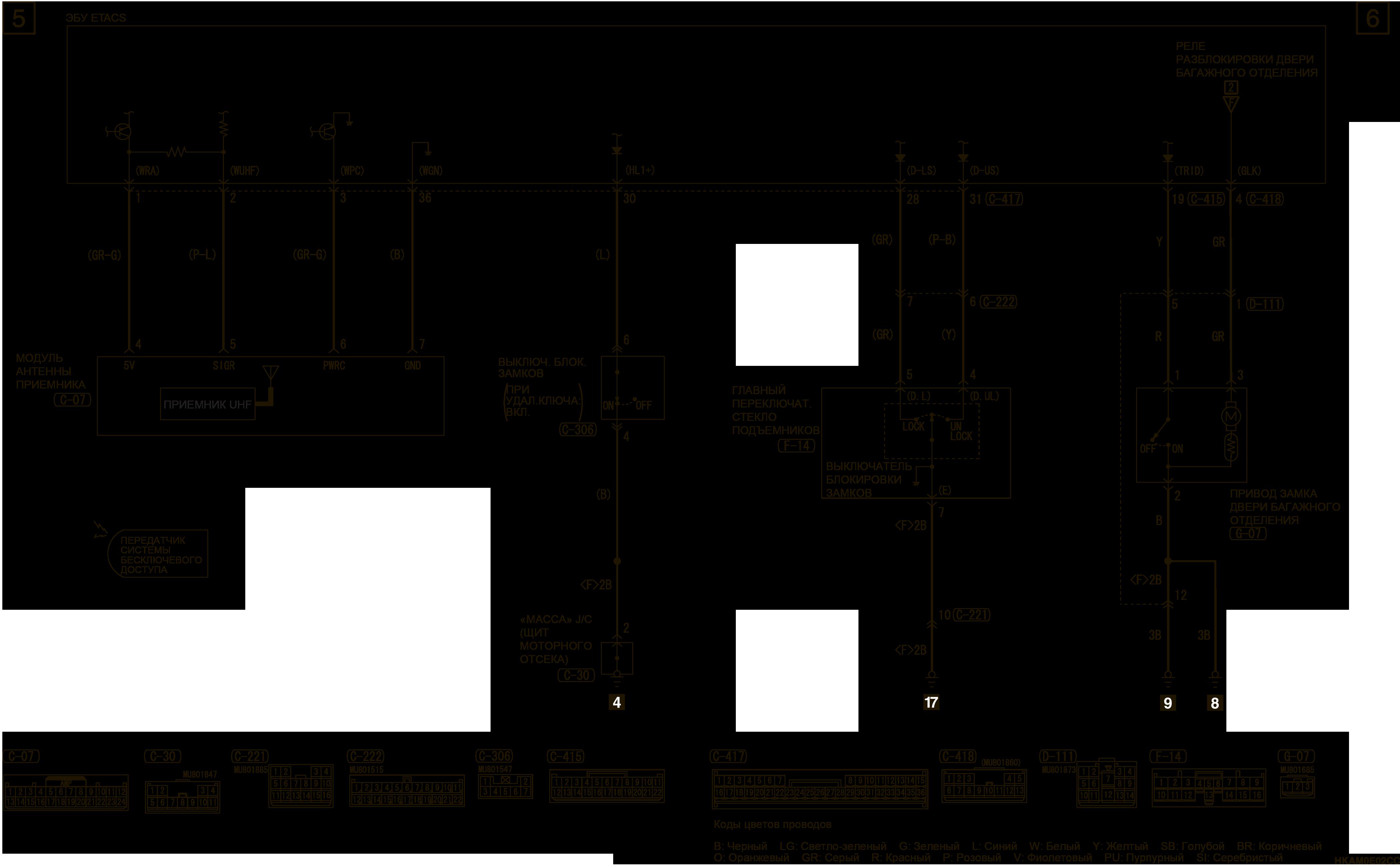 mmc аутлендер 3 2019 электросхемаСИСТЕМА ЦЕНТРАЛЬНОЙ БЛОКИРОВКИ ЗАМКОВ ДВЕРЕЙ АВТОМОБИЛИ БЕЗ СИСТЕМЫ KOS (ЛЕВАЯ СТОРОНА)