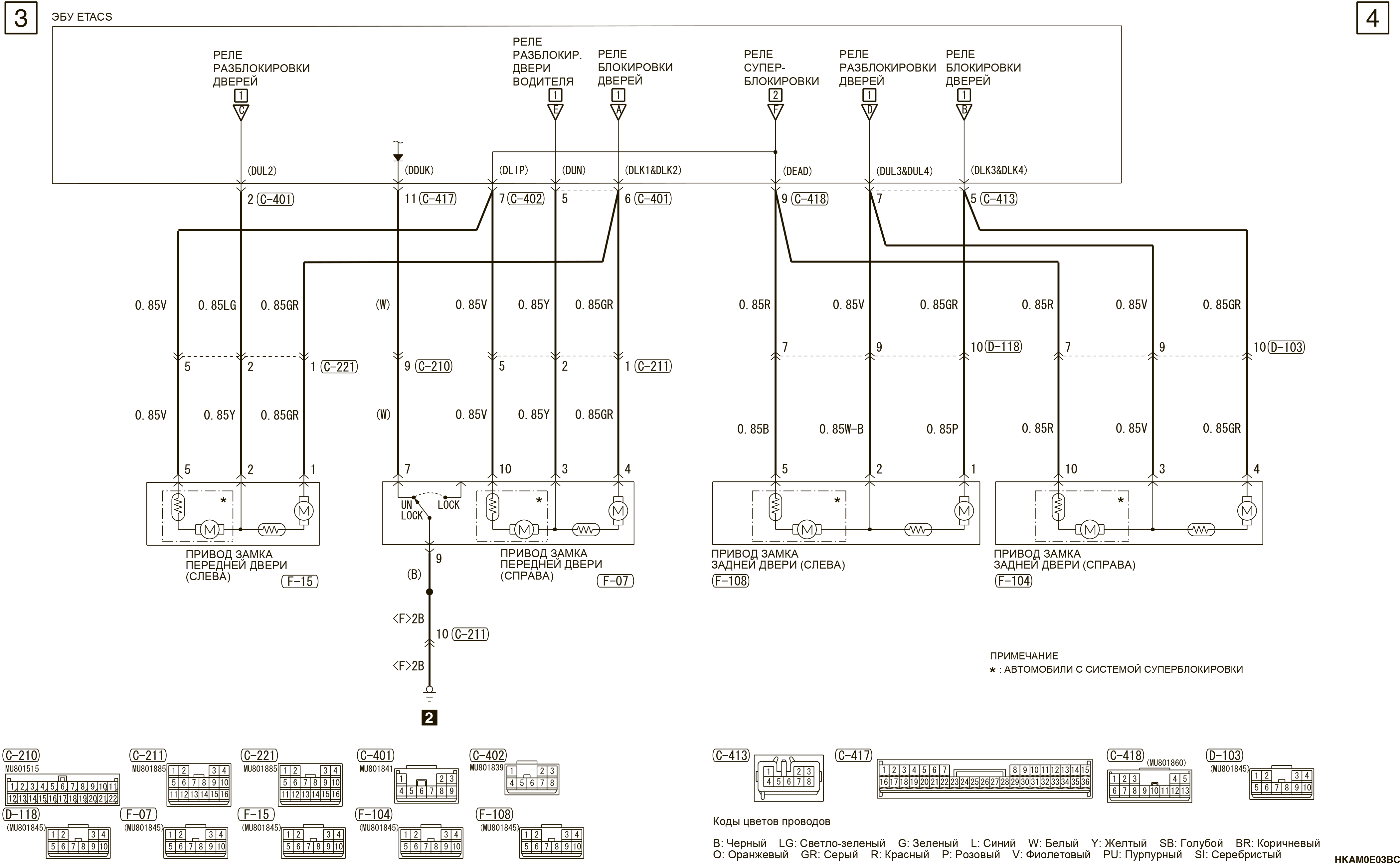 mmc аутлендер 3 2019 электросхемаСИСТЕМА ЦЕНТРАЛЬНОЙ БЛОКИРОВКИ ЗАМКОВ ДВЕРЕЙ АВТОМОБИЛИ БЕЗ СИСТЕМЫ KOS (ПРАВАЯ СТОРОНА)