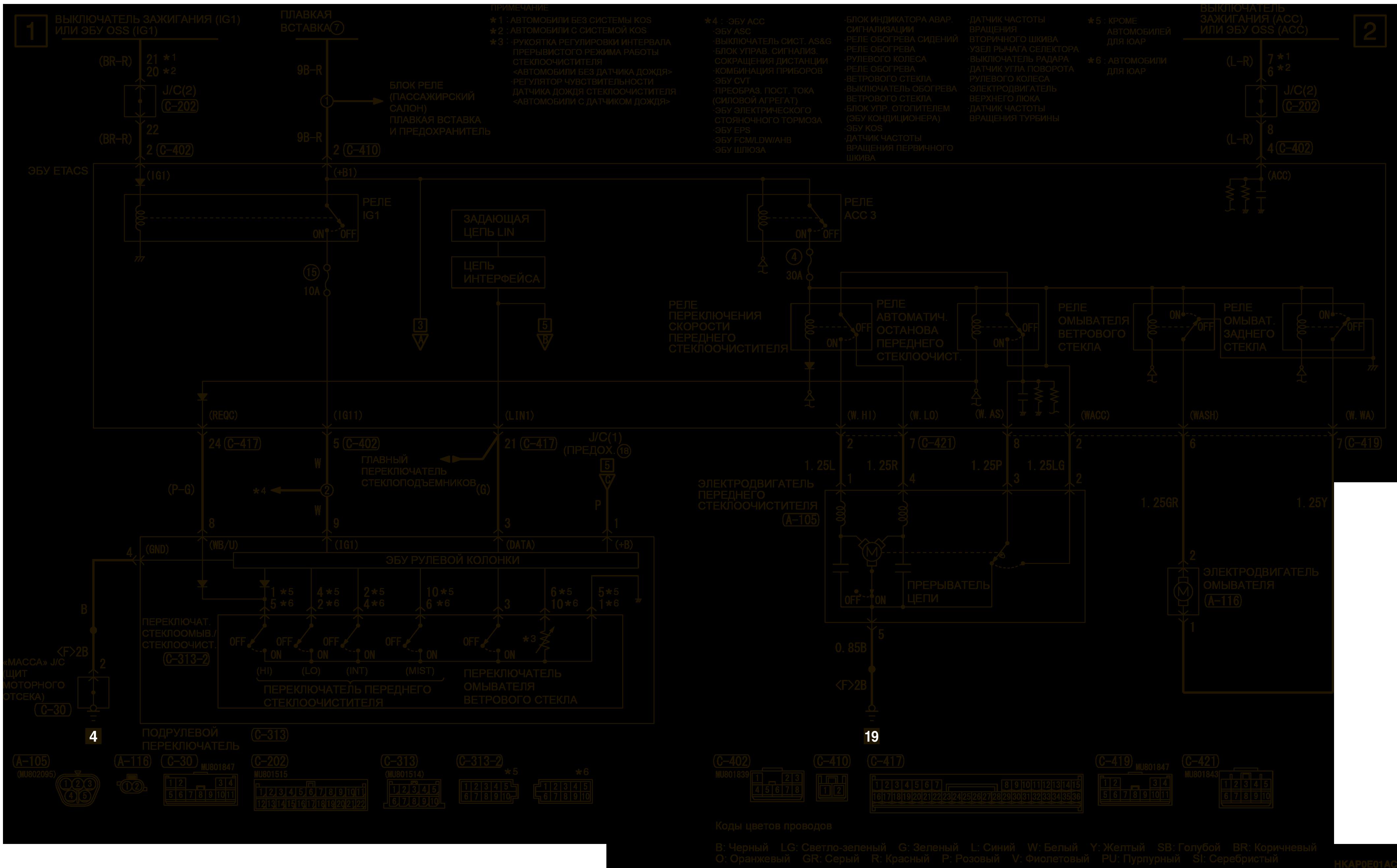 mmc аутлендер 3 2019 электросхемаПЕРЕДНИЙ СТЕКЛООЧИСТИТЕЛЬ И ОМЫВАТЕЛЬ ПРАВАЯ СТОРОНА
