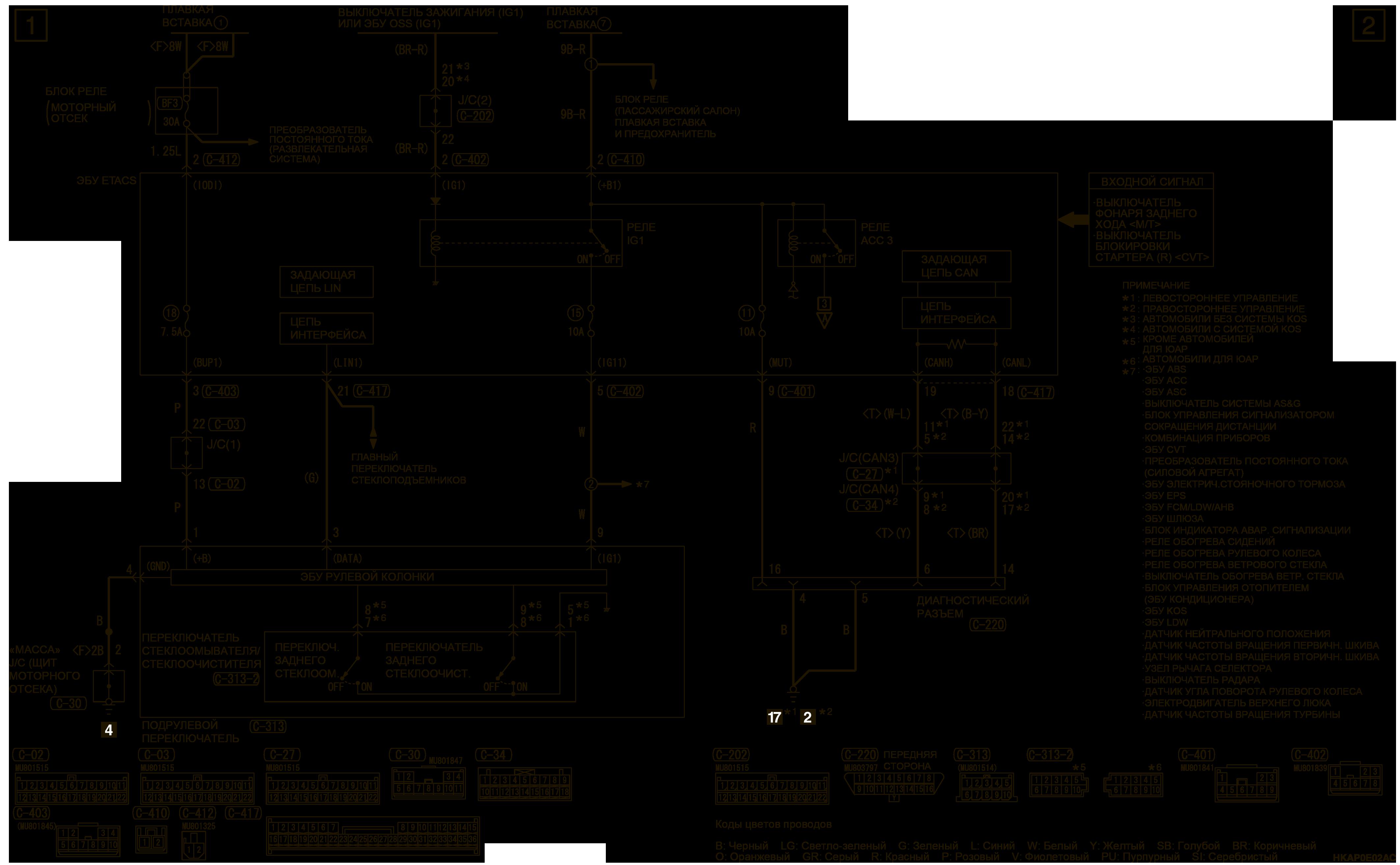 mmc аутлендер 3 2019 электросхемаЗАДНИЙ СТЕКЛООЧИСТИТЕЛЬ И ОМЫВАТЕЛЬ