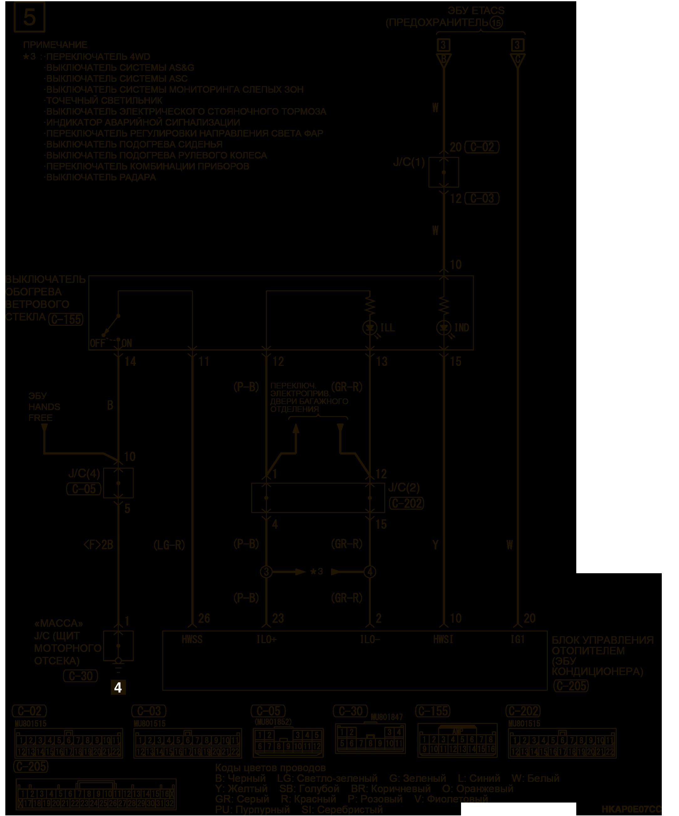 mmc аутлендер 3 2019 электросхемаОБОГРЕВ ВЕТРОВОГО СТЕКЛА ПРАВОСТОРОННЕЕ УПРАВЛЕНИЕ