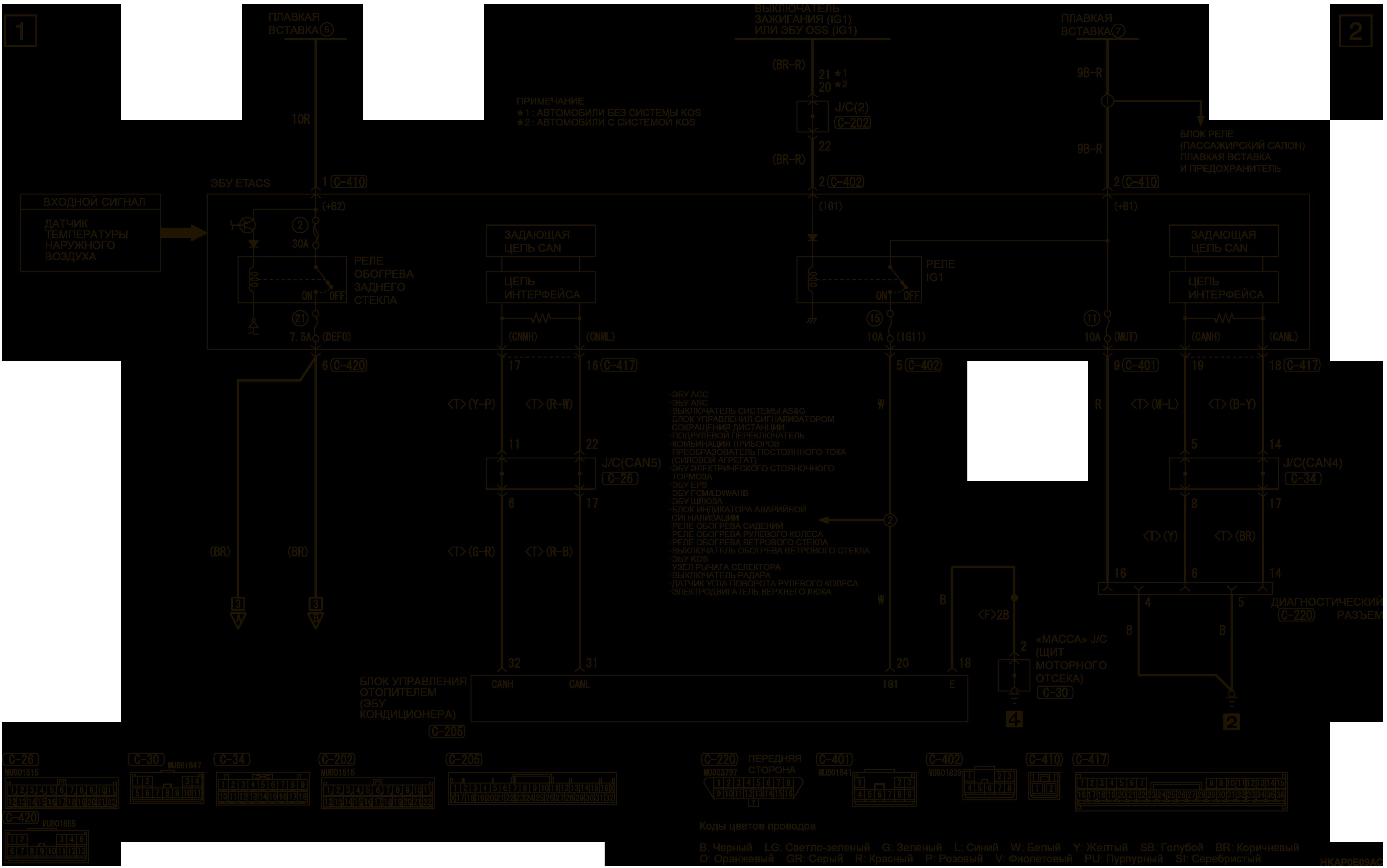 mmc аутлендер 3 2019 электросхемаЭЛЕКТРООБОГРЕВ НАРУЖНЫХ ЗЕРКАЛ ПРАВАЯ СТОРОНА