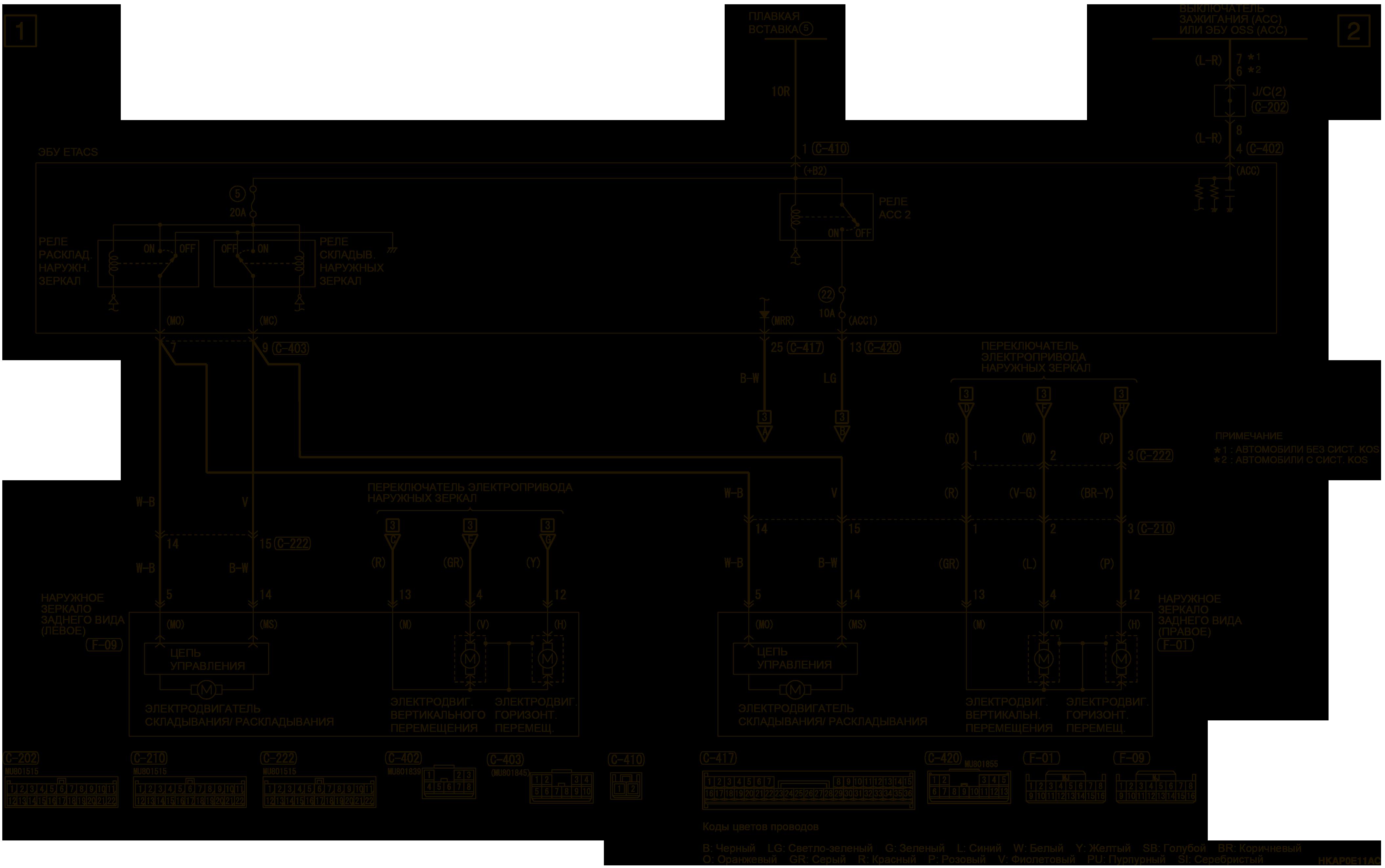 mmc аутлендер 3 2019 электросхемаЭЛЕКТРОПРИВОД СКЛАДЫВАНИЯ НАРУЖНЫХ ЗЕРКАЛ ЗАДНЕГО ВИДА (СКЛАДЫВАНИЕ) ЛЕВАЯ СТОРОНА